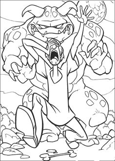 scooby doo colouring pages big monster chasing shaggy coloring page kids coloring page