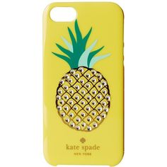 Kate Spade New York Embellished Pineapple Resin iPhone 5 Case ($45) ❤ liked on Polyvore featuring accessories, tech accessories, lemon yellow and kate spade