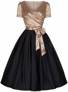 f0d8d4c93cfe Lindy Bop  Gina  Vintage Glamourous Black   Gold Tea Party Dress (S