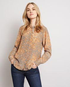 Liberty Silk Peter Pan Collar Shirt in Orange Petals | Really Wild Clothing
