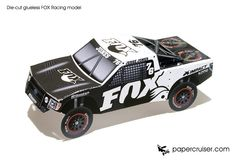 FOX Racing die-cut glueless paper model promo | papercruiser.com