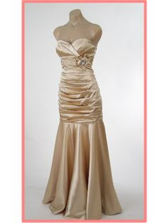 Strapless Gold Satin Ruched Elegant Mermaid Gown