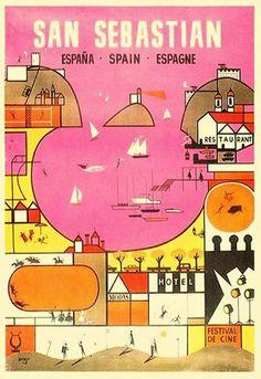 Foto: Precioso cartel turístico de Rafel Munoa (1930-2012). Persona polifacética que fue dibujante, pintor, humorista, joyero y coleccionista.Cartel de 1961. Publicado por Mariona Tella