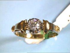 Año 1940/50. Bonita Sortija de señora, tipo solitario Oro 18 Ktes. Peso 2,75 gr in Relojes y joyas, Vintage y joyería antigua | eBay