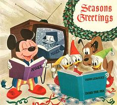 Here is a great Disney Company Christmas Card for On the front of the lithographically printed card we see Mickey and Donald (on the B. Disney Christmas Cards, Disney Cards, Vintage Christmas Cards, Retro Christmas, Christmas Love, Vintage Holiday, Christmas Pictures, Christmas Greetings, Mickey Christmas