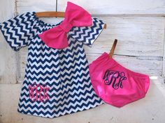 Monogrammed Navy Chevron Dress with Hot Pink Embroidery Bow Matching Diaper Cover 0-3 Month 3-6 Month 6-9 Month 12 Month 18 Month 2T on Etsy, $35.00