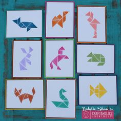 """DIY Tangrams Art By: Nataliefrom Doodlecraft A Tangram is a Chinese dissection puzzle consisting of 7 flat shapes. They all fit perfectly in one square. My dad is a Mathematician. He collects """"smart games"""". He loves all sorts of thin"""