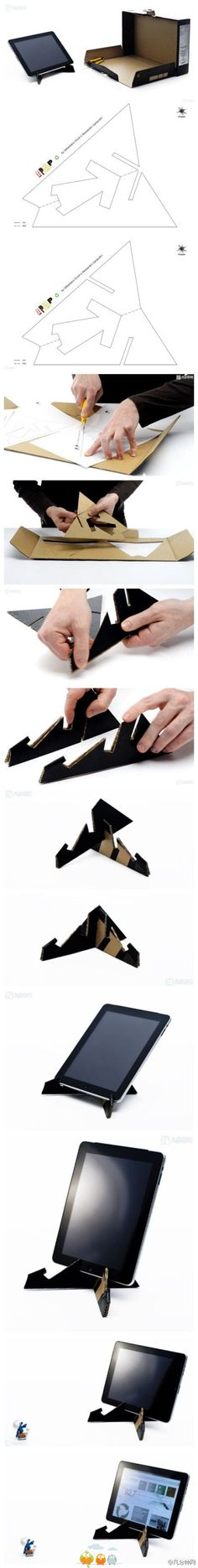 DIY Cardboard Tablet Stand is part of Cardboard crafts Tutorials Making a tablet stand can be really nice since you will always need - Cardboard Furniture, Cardboard Crafts, Cardboard Boxes, Diy Projects To Try, Craft Projects, Diy Para A Casa, Home Crafts, Diy And Crafts, Diy Paper