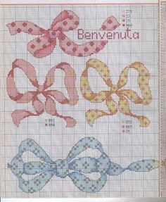 Many Ties and Bow Patterns - _ponto_cruz: ties and bows! Cross Stitch Kitchen, Just Cross Stitch, Cross Stitch Needles, Cross Stitch Heart, Beaded Cross Stitch, Cross Stitch Borders, Cross Stitch Designs, Cross Stitching, Cross Stitch Embroidery