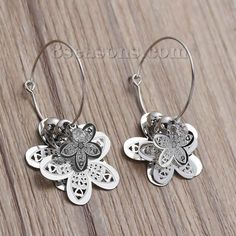 """Wholesale New Fashion Filigree Stamping Earrings Flower Silver Tone Clear Rhinestone W/ Stoppers 49mm(1 7/8"""") X 23mm( 7/8""""), 1 Pair from China Supplier – 8seasons.com"""