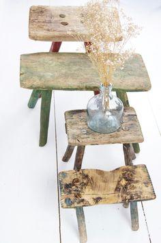 alte Holzschemel / old wooden stools http://boheme-living.com/furniture/hocker-und-schemel.html