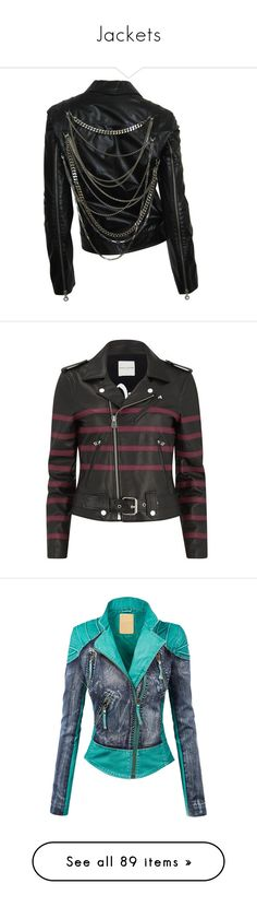 """Jackets"" by batmans-monkey ❤ liked on Polyvore featuring outerwear, jackets, tops, coats, chaquetas, collar jacket, versace, motorcycle jacket, 100 leather jacket and rider jacket"