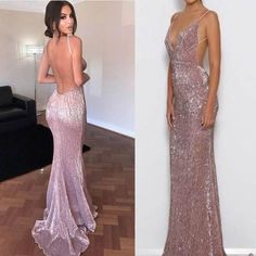 Sexy Open Back Mermaid Rose Gold Sequin Cheap Long Prom Dresses, Deb Dresses, Gold Prom Dresses, Prom Outfits, Backless Prom Dresses, Gala Dresses, Tight Dresses, Pretty Dresses, Homecoming Dresses, Beautiful Dresses