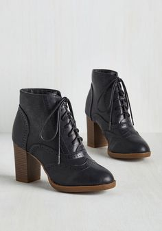 Mashup to the Minute Bootie in Midnight Blue - Blue, Solid, Work, Casual, Scholastic/Collegiate, Minimal, Good, Lace Up, Chunky heel, Ankle, Variation