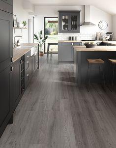 Dark Grey Laminate Flooring, Grey Wood Floors, Engineered Wood Floors, Modern Flooring, Kitchen Laminate Flooring, Best Flooring For Kitchen, Loft Flooring, Plywood Floors, Painted Floors