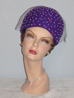 1980's Purple Wool Jewel Encrusted Bubble Toque Hat Designed by Jack McConnell Boutique from My Vintage Clothes Line