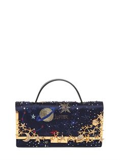 COSMOS EMBROIDERED SATIN CLUTCH