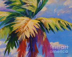 Palm Tree Paintings - Colorful Palm by John Clark