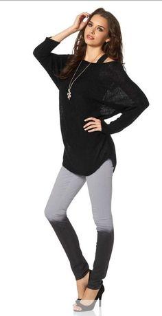 Leggings mit Farbverlauf Super skinny breiter Gummibund grau Größe 34 (411519)   eBay