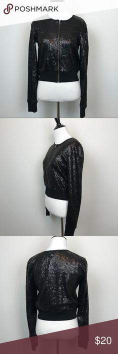 "NWT Jessica Simpson Sz S Black Sequin Moto Jacket Black sequin zip moto jacket Machine Washable 18"" armpit to armpit  18.5"" length Jessica Simpson Jackets & Coats Blazers"