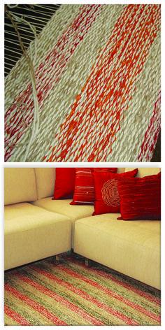 Produção de tapete de algodão e chenille, misturinha listrado. Projeto realizado para a sala de estar da Sabine no Portal do Morumbi.