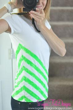 sugartotdesigns: DIY Neon Striped Shirt....not into neon but another color would be cutie
