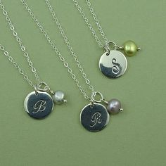 Bridesmaid Pearl Necklace - sterling silver bridesmaid gift - wedding party gift - initial pearl necklace on Etsy, $89.00