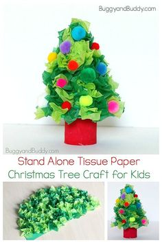 Stand Alone Tissue Paper Christmas Tree Craft for Kids- Use a cardboard tube and some tissue paper to make a festive and color 3-D Christmas tree for the holidays! #buggyandbuddy #christmastreecraft #christmascraft #tissuepapercraft #kindergarten #firstgrade