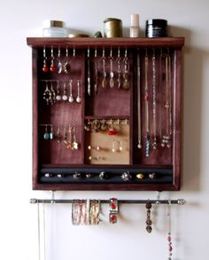 Jewelry storage. earrings display. necklace holder. Mahogany stain display with shelf. wooden wall mounted jewelry holder. MULTIPLE COLORS.