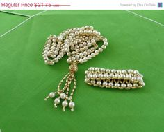 MOM DAY SALE Vintage Simulated Pearl Necklace by LaylaBaylaJewelry