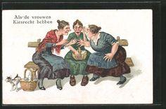 AK Als de vrouwen Kiesrecht hebben, Zankende Weiber, Humor Nr. 7029445…