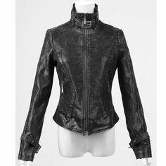 Designer Men Women Black Faux Leather Punk Rock Biker Bomber Jackets SKU-11401415
