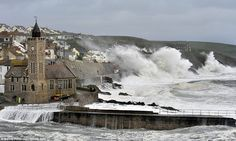 Never underestimate Nature. Close encounters of the watery kind: Waves crash on the harbour at Porthleven, Cornwall as late evening winds battered the region. Portugal, Sea Storm, Europe, Close Encounters, Winter Storm, Natural Phenomena, Natural Disasters, Luxury Yachts, Great Britain