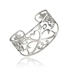 This fashionable stainless steel cuff bracelet features an elegant filigree pattern. A high polished finish completes the look of this stylish bracelet.