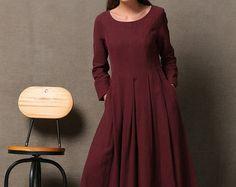 Vestido lino  semi-Fitted verano Moda Casual cotidiano mujer