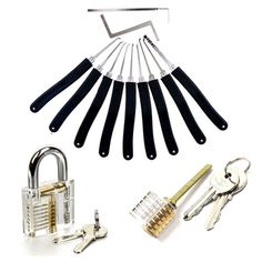 9 Pieces Used Dimple Honest Dino Cross Cutaway Huk Unlocking Door Transparent Practice Padlock Lock Pick Tools Supplier Smith Tools, Auto Locksmith, Cutaway, Tool Set, Dimples, Will Smith, China, Key, Unique Key