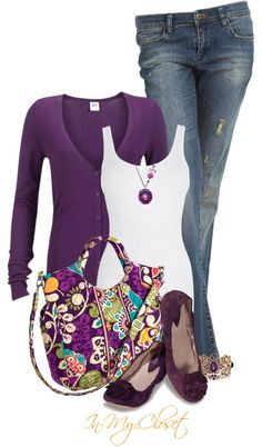 """Vera Bradley Purple"" by in-my-closet ❤ liked on Polyvore - yes this is an outfit I would put on tomorrow if I had it !"