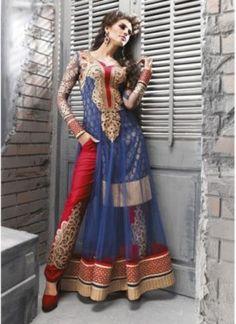 Tunique Anarkali de Concepteur Couleur Bleu Style Pantalon Indien en Filet