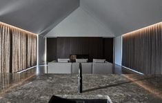 Image 10 of 17 from gallery of Casa Ry / Christoffersen & Weiling Architects. Photograph by Tina Stephansen Concrete Path, Narrow House, Space Architecture, Luxury Sofa, Maine House, Modern House Design, Modern Farmhouse, Facade, Beautiful Homes