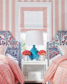 Thibaut New Haven Stripe Wallpaper and Roman Shade - Indian Panel on Headboard - Duvet in Piermont - Ceylon Collection Beautiful Bedrooms, Beautiful Interiors, Relaxed Roman Shade, Custom Drapes, Custom Window Treatments, Beach House Decor, Home Decor, Striped Wallpaper, Home Bedroom