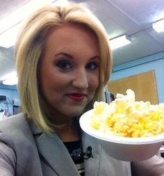 """Happy Friday from my desk in the newsroom! There's never a wrong time for popcorn, right? Especially when dinner time for the MTM Crew is about 3:00 a.m.! Don't forget to post your weekend movie reviews on the 9&10 News Facebook page for """"Movie Monday"""" at the #910News Touchscreen! - Sara Simnitch 7.18.14"""