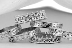 THREE Sterling Silver Rings ,Stacking Rings, Bands, Medieval Rings, Renaissance Rings,Sister rings