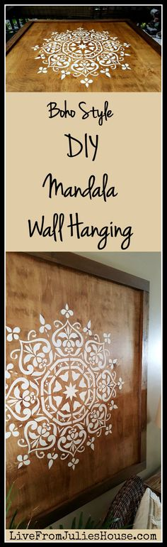 Boho Style DIY Mandala Wall Hanging - Want to add a dramatic boho style piece of art to your walls without breaking the bank? Check…