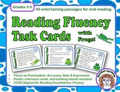 Reading Fluency Task Cards - Short, entertaining passages to practice oral reading. Comes with Fluency Four Poster and Reminder Cards as well as a detailed tracking sheet. $