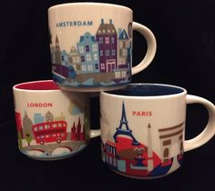 Starbucks London Paris Amsterdam YAH Mug Set You Are Here France England Neder #Starbucks