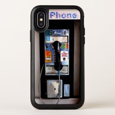 Retro Pay Phone Funny Photo OtterBox iPhone X Case - black gifts unique cool diy customize personalize