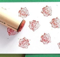 rose, rubber stamp