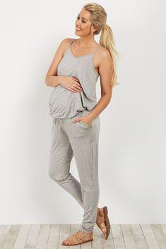 25d488018733 Grey Basic Sleeveless Maternity Jumpsuit