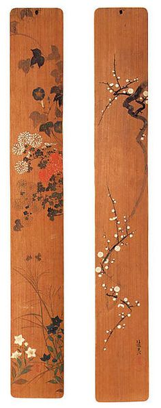 Flowers of Spring and Autumn. Ogata Kōrin (Japanese, 1658–1716). Edo period. shortly after 1701. Japan. Pair of panels; ink and color on cryptomeria wood