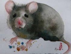 "Saatchi Art Artist Marie-Helene Stokkink; Painting, ""Grey Mouse"" #art"